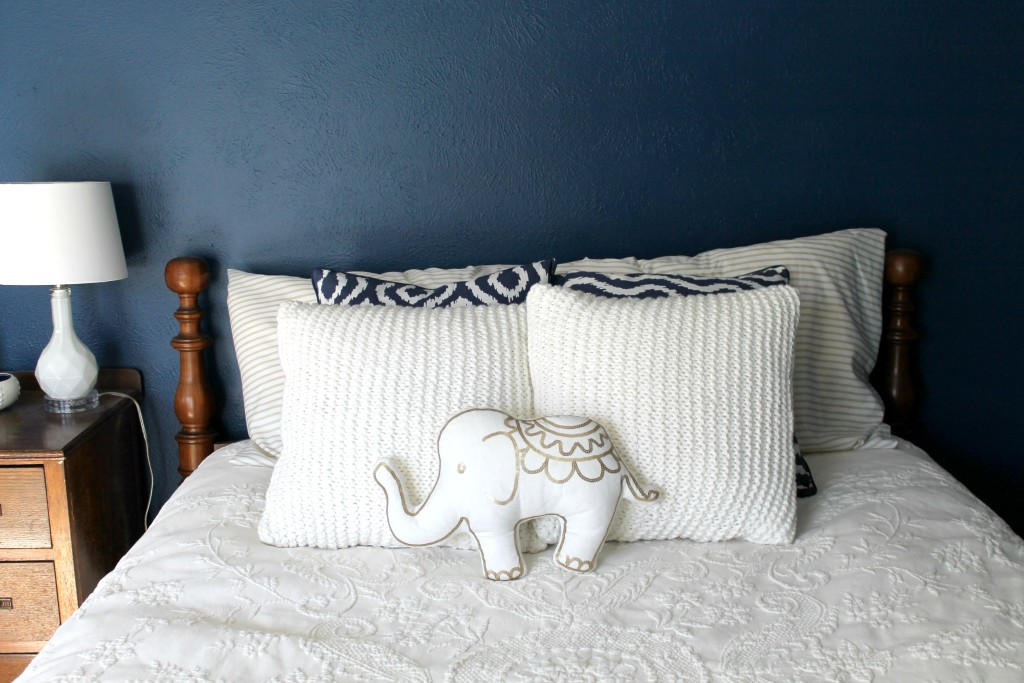 navy gold guest bedroom