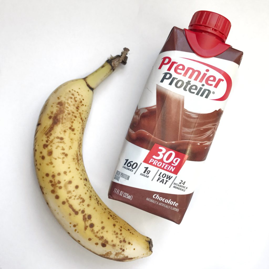 Weekly meal prep morning snack of Premier Protein drink and a banana