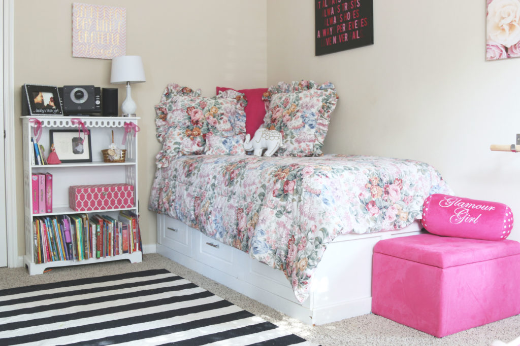 The perfect girly room tour with Ralph Lauren floral bedding and a ballet barre!